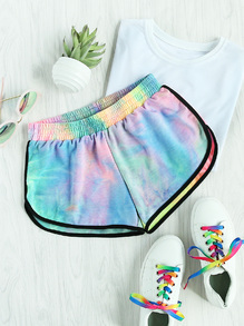Water Color Shirred Waist Ringer Shorts