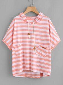 Hooded Stripe Dip Hem Tee With Dual Pockets