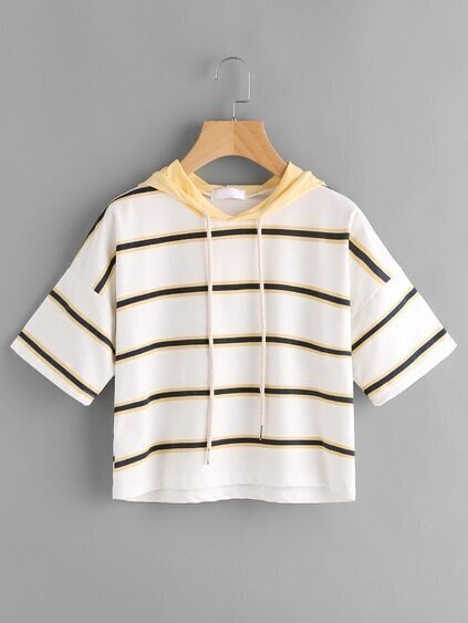 Hooded Drawstring Striped Tee
