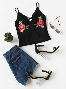 Rose Patch Lace Up Front Ribbed Cami Top