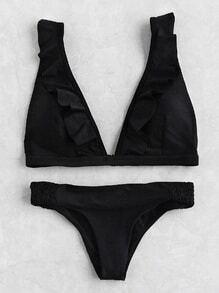 Ruffle Plunge Neckline Bikini Set