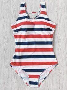 Block Stripe Criss Cross Back Swimsuit