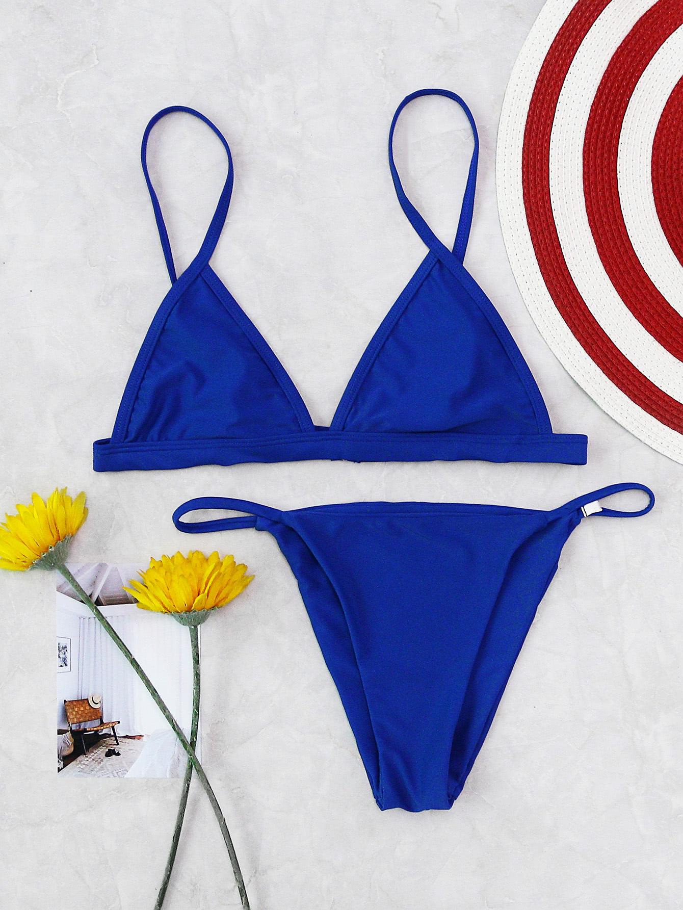 maillot de bain de la plage triangle french romwe. Black Bedroom Furniture Sets. Home Design Ideas