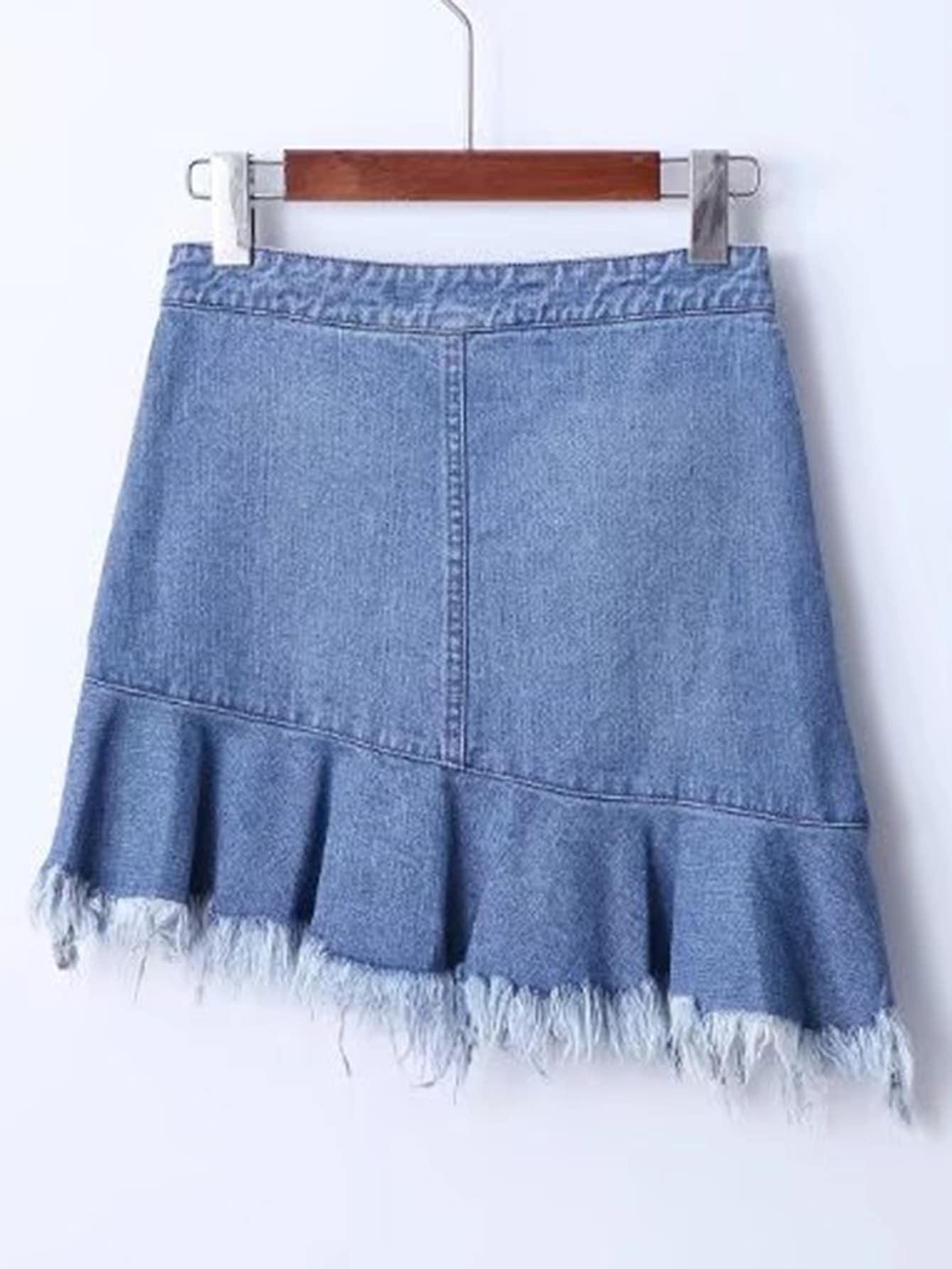 jupe en jeans asym trique avec pan d chir french romwe. Black Bedroom Furniture Sets. Home Design Ideas