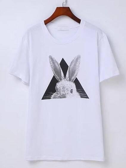 Rabbit Print Short Sleeve Tee
