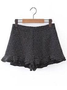 Polka Dot Ruffle Hem Shorts