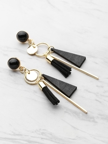 Triangle And Tassel Detail Drop Earrings With Gemstone