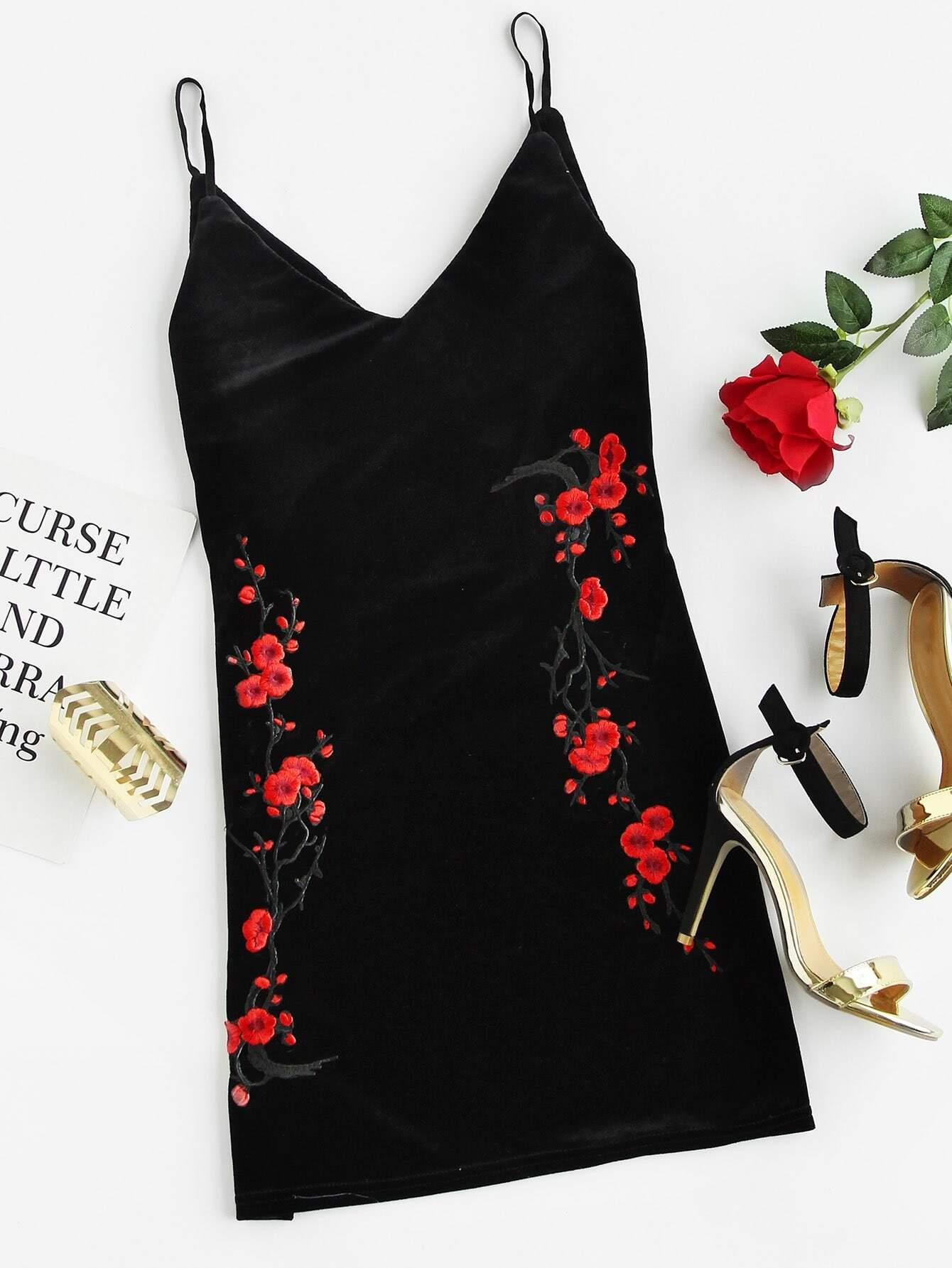 Plum Blossom Embroidered Velvet Cami Dress