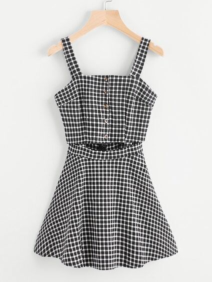 Gingham Print Single Breasted Cut Out Waist Dress