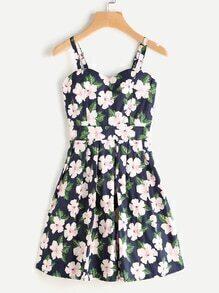 Allover Floral Print Random Box Pleat Cami Dress