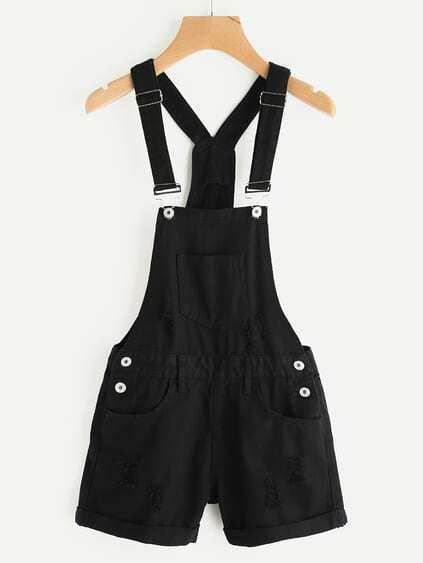 Distress Cuffed Pinafore Playsuit