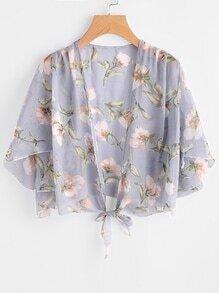 Kimono imprimé fleuri avec un nœud