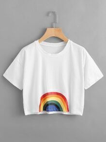 Rainbow Print Crop Tee