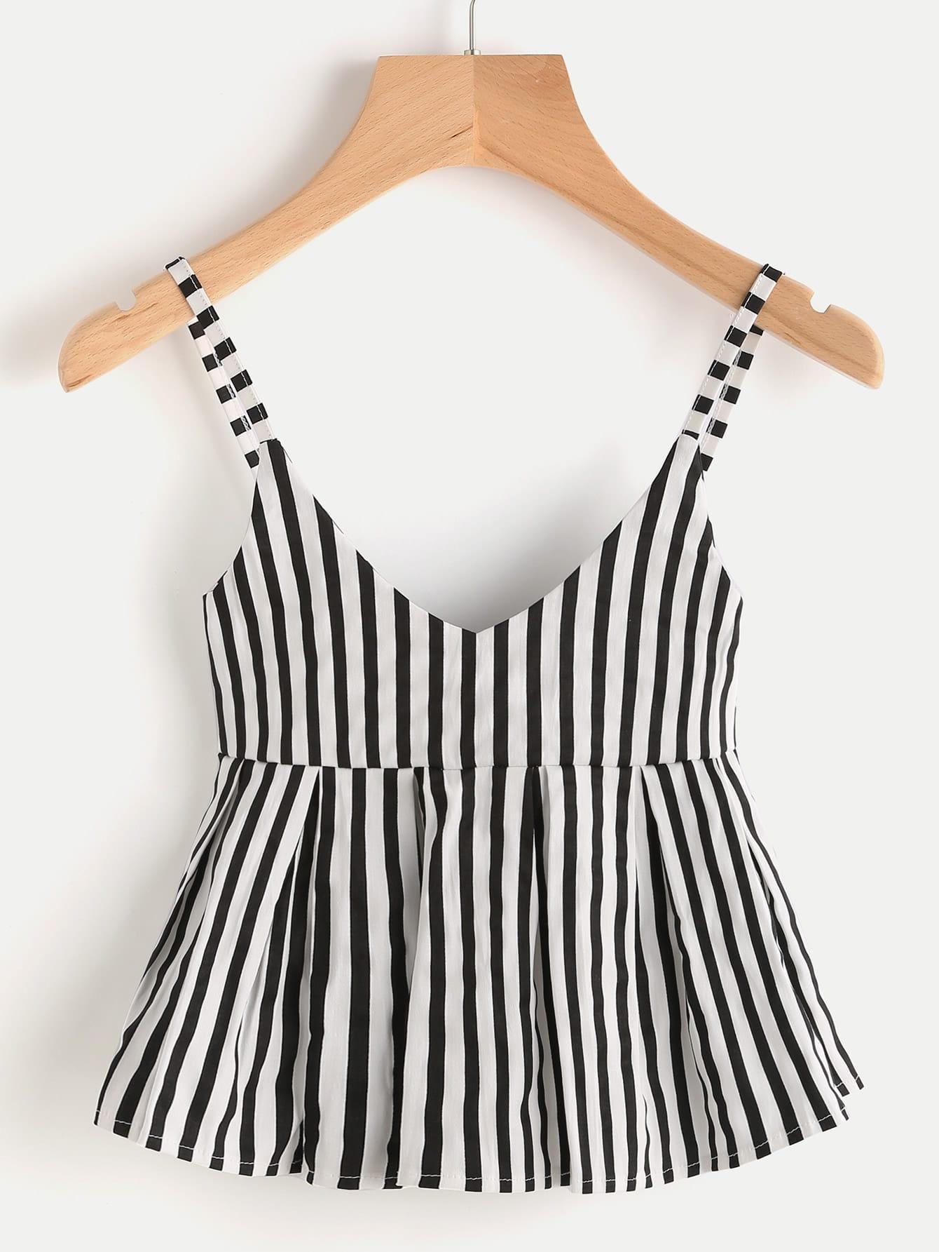V Neckline Vertical Striped Babydoll Cami Top
