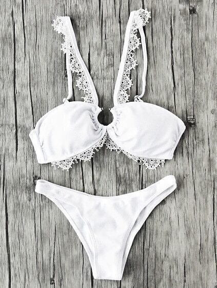 Lace Crochet Trim Ring Bikini Set