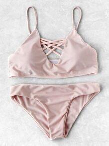 Criss Cross V Neck Bikini Set