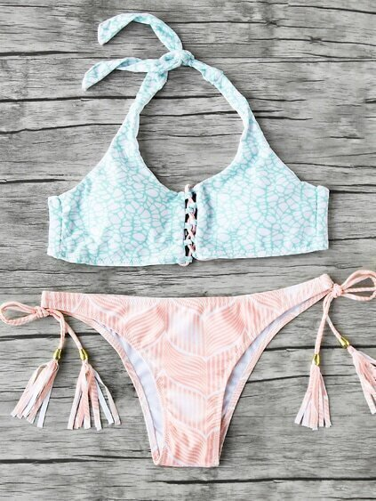 Mix & Match Bikini Set mit Quaste