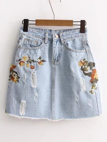 Ripped Detail Embroidery Denim Skirt