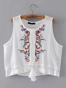 Contrast Lace Embroidery Sleeveless Top
