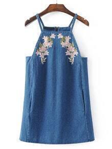 Cami Straps Embroidery Zipper Back Denim Dress