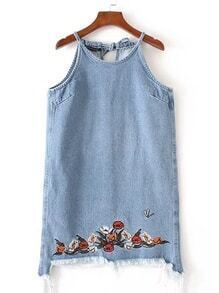 Tie Back Embroidery Frayed Denim Dress