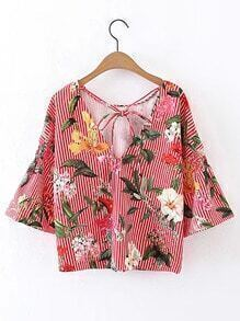 Tie Neck Vertical Striped Floral Top