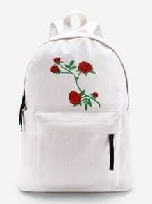 Sac à dos brodé des fleurs avec le zip