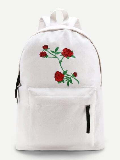 Flower Embroidery Zipper Front Canvas Backpack