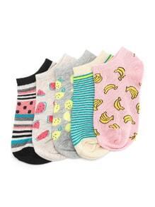 Socquettes imprimé des fruits à rayures 5 paires