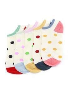 Polka Dot Print Ankle Socks 5 Pairs
