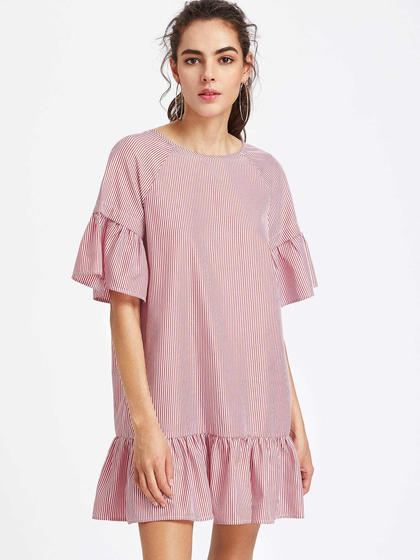 Raglan Sleeve Crisscross V Back Striped Ruffle Dress
