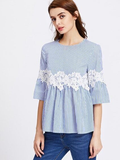 Lace Applique Bell Sleeve Buttoned Keyhole Grid Babydoll Top