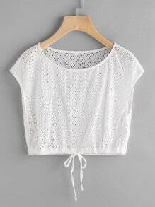 Drawstring Hem Eyelet Embroidered Crop Top