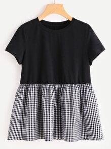 Tee-shirt babydoll jointif avec des plis