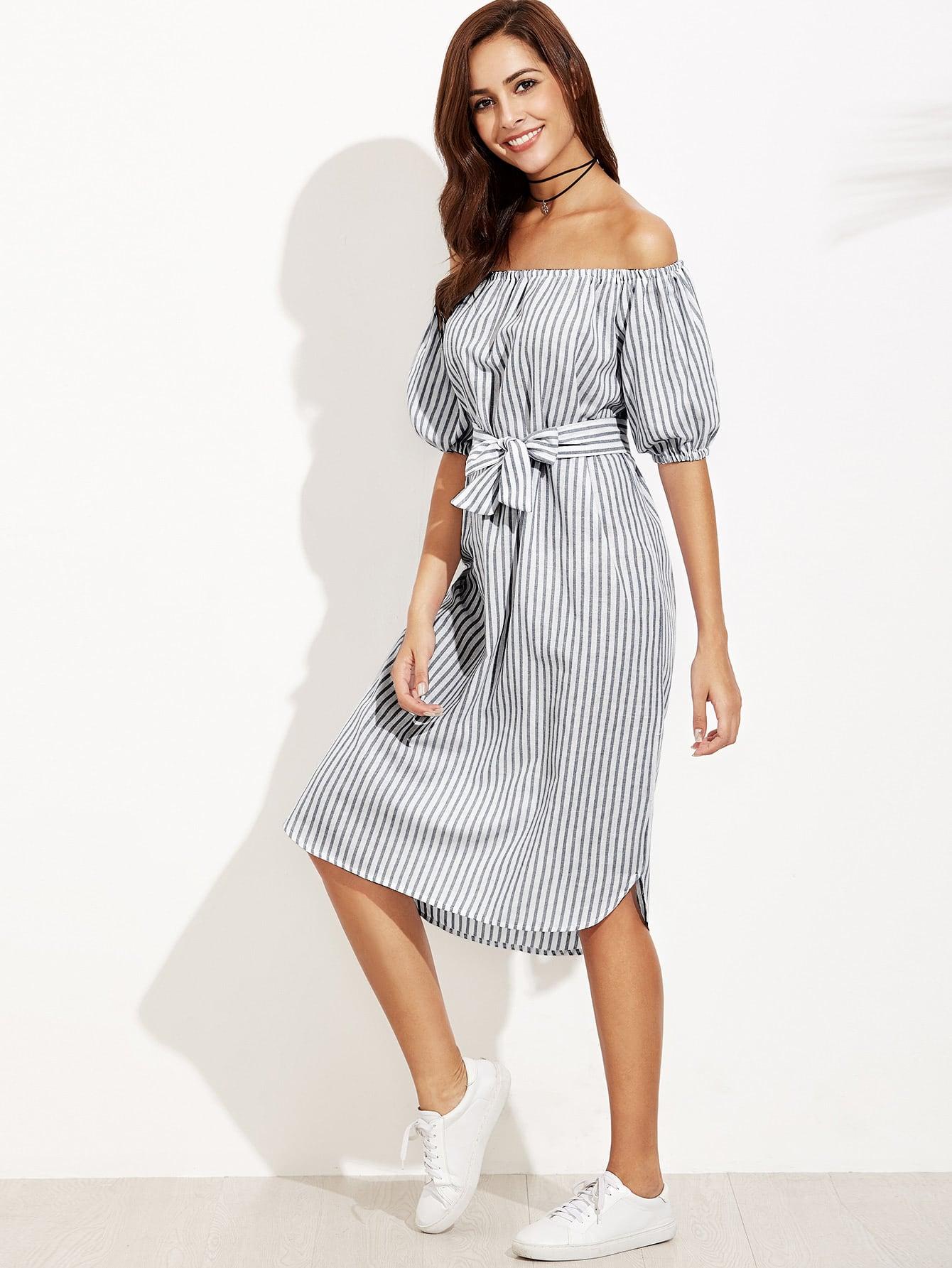 Bardot Lantern Sleeve Self Tie Vertical Striped Dress
