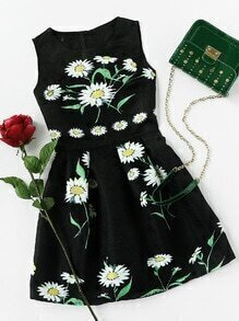 Daisy Print Embossed Fit & Flare Dress