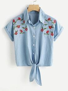 Floral Embroidered Knot Front Cuffed Shirt