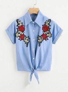 Shirt brodé fleur avec nœud avant manchette