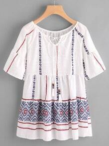 Flute Sleeve Embroidered Self Tie Neck Babydoll Blouse