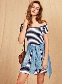 Off Shoulder Striped A Line Dress