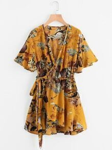 Ruffle Sleeve Palm Leaf Wrap Tie Waist Dress