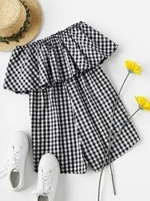 Layered Checked Strapless Romper