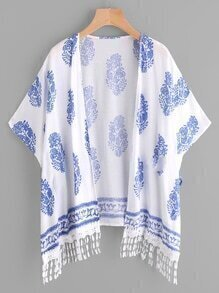 Kimono imprimé random avec pan en lace