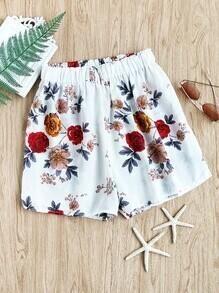 Shorts en chiffon avec taille élastique imprimé floral