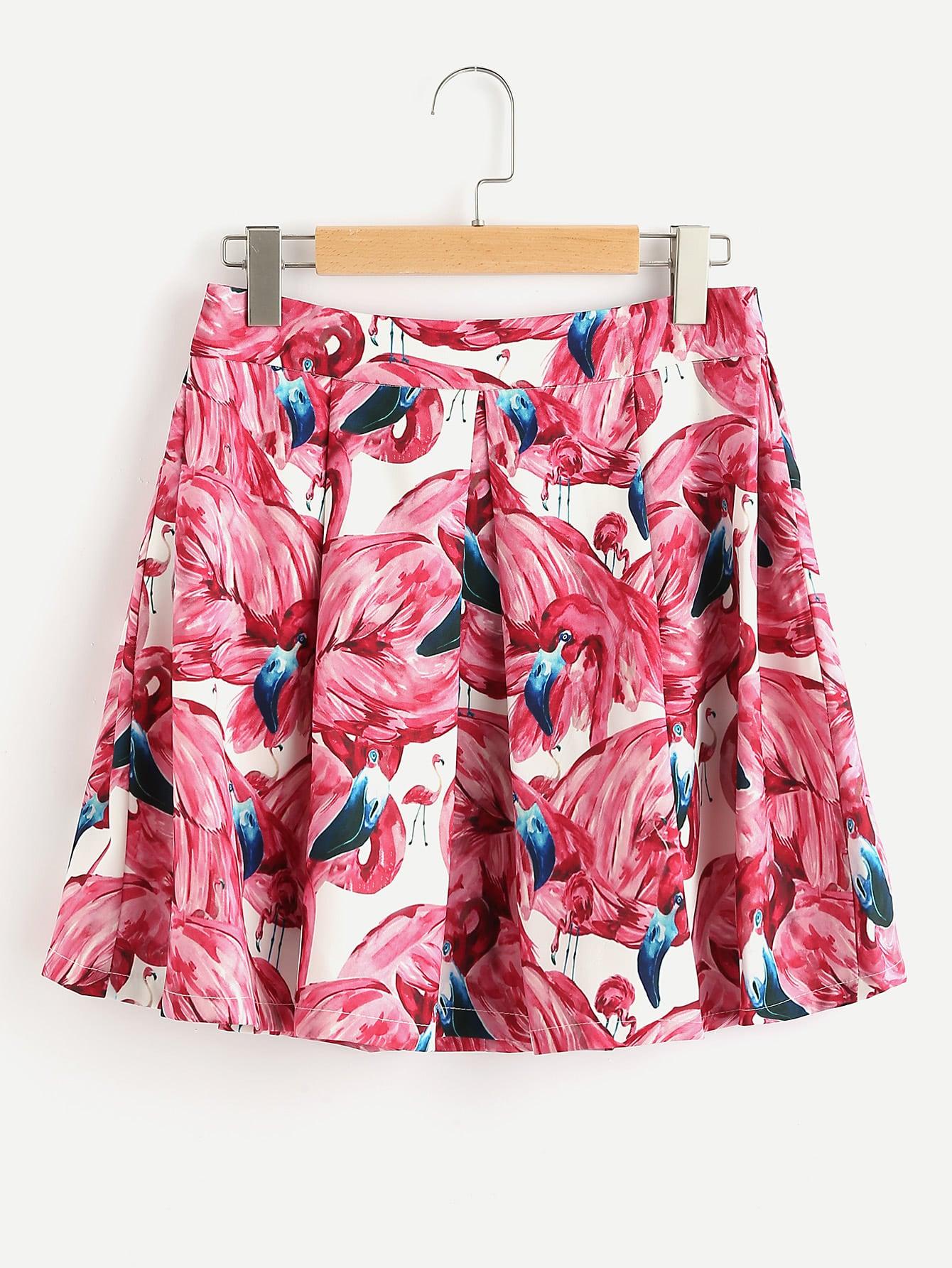 Flamingo Print Random Box Pleated Zip Back Skirt