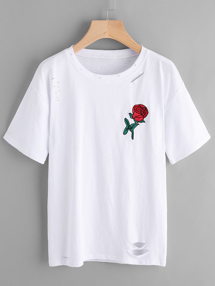 Rose Embroidered Ripped Long Tee