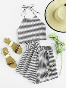 Halter Neck Striped Bow Open Back And Shorts Set