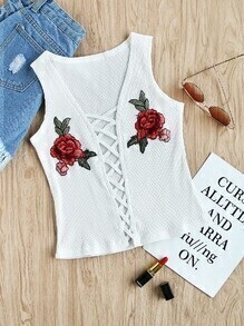Rose Embroidered Patch Lace Up Ribbed Top