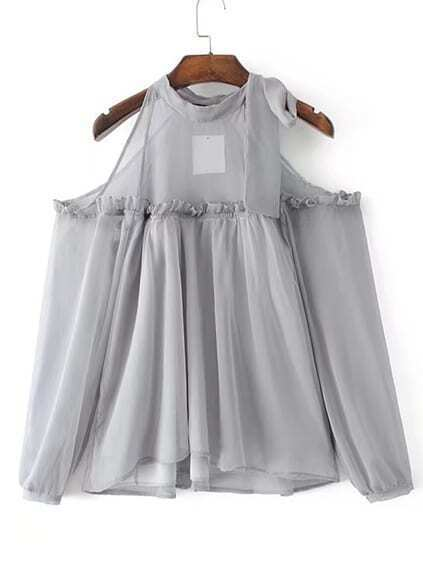 Open Shoulder Frill Trim Chiffon Top