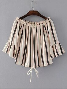 Bell Sleeve Vertical Striped Tie Detail Top